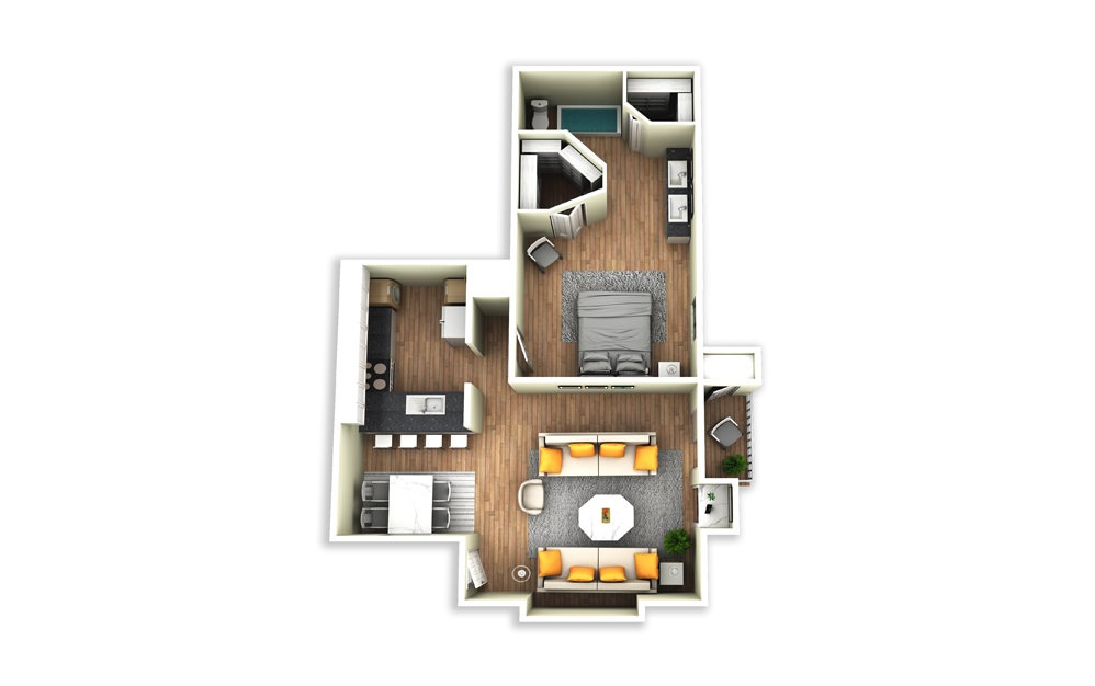 A1 - 1 bedroom floorplan layout with 1 bath and 920 square feet.