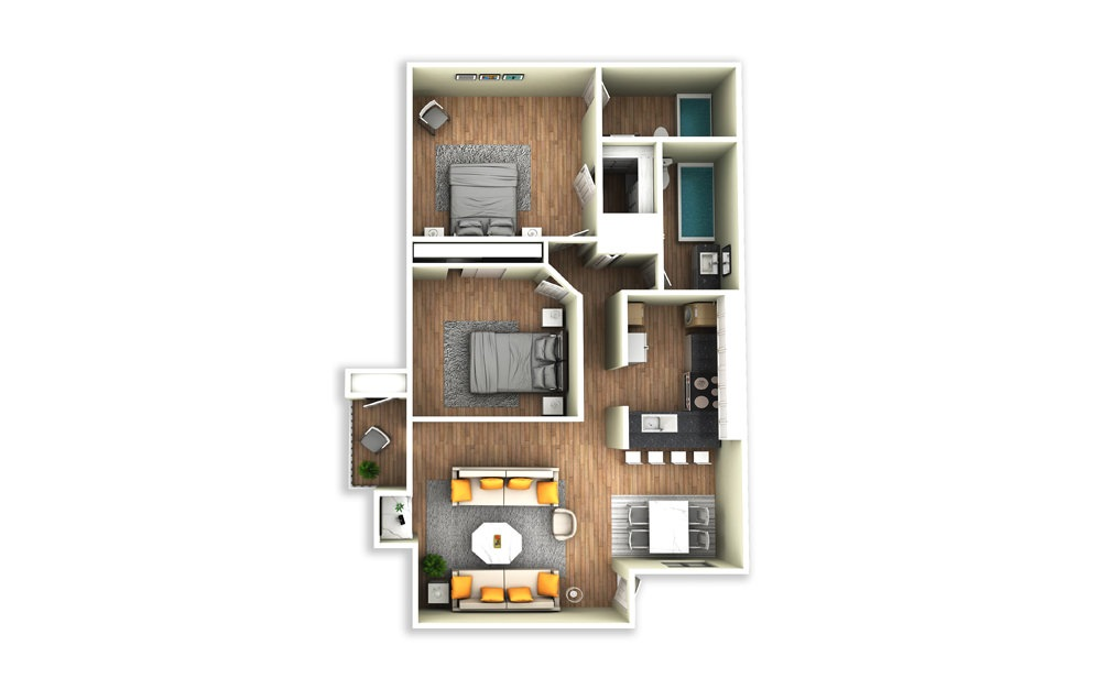 B1 - 2 bedroom floorplan layout with 2 baths and 1125 square feet.